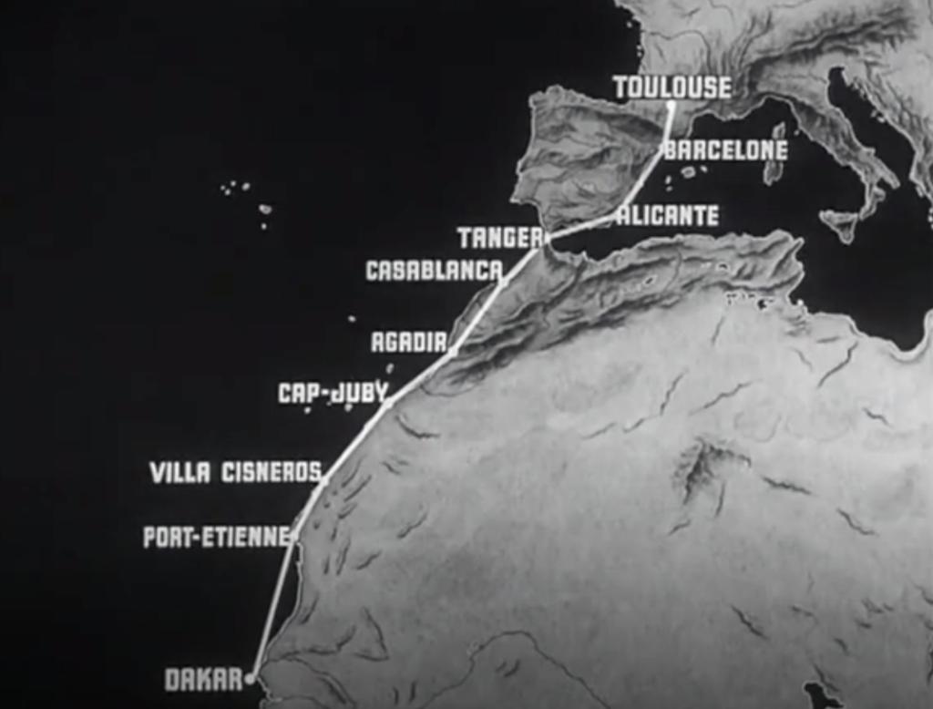 アメリカ映画Night Flightの一場面より。トゥールーズ―バルセロナ―アリカンテ(ヨーロッパ)ータンジェ―カサブランカーアガディル―キャップジュビーシズネロスーポール=エティエンヌーダカール(アフリカ)